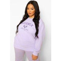 Womens Plus Beverly Hills Overdye Sweatshirt - Purple - 18, Purple