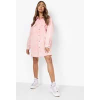 Womens Pastel Wash Frayed Hem Denim Shirt Dress - Pink - 8, Pink