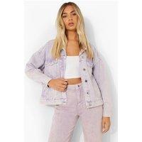 Womens Oversized Pastel Wash Denim Jacket - Purple - 12, Pur