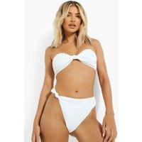 Womens Ribbed Twist Knot High Leg Bikini Brief - White - 16, White