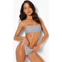Womens Mono Stripe Strappy Bandeau Bikini Top - 6, Mono