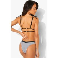 Womens Mono Stripe Double Tie Triangle Bikini Top - 16, Mono