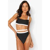 Womens Mono Strappy Bikini Crop Top - Black - 8, Black