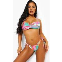 Womens Printed Ruched Strappy Bandeau Bikini Top - Pink - 10, Pink
