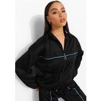 Womens Oversized Zip Through Jacket - Black - 8, Black