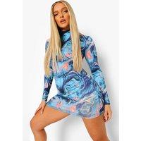 Womens Abstract Print Long Sleeve Dress - Blue - 10, Blue
