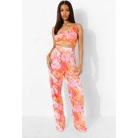 Womens Tie Dye Elasticated Wide Leg Trousers - Pink - 12, Pink