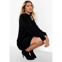 Womens Cable Knit Chenille Jumper Dress - Black - L, Black