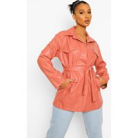 Womens Faux Leather Belted Jacket - Pink - 14, Pink