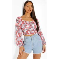 Womens Floral Ruched Bust Long Sleeve Blouse - Pink - 16, Pink