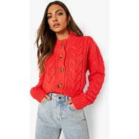 Womens Chunky Cable Knit Cropped Cardigan - Red - M, Red
