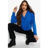 Womens Balloon Sleeve Cropped Cardigan - Blue - M, Blue