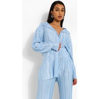 Womens Plisse Oversized Relaxed Fit Shirt - Blue - 12, Blue