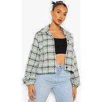 Womens Pastel Wool Look Check Trucker Jacket - Green - 14, G