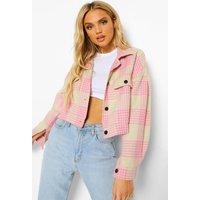 Womens Check Wool Look Trucker Jacket - Pink - 12, Pink