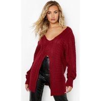 Womens Split Detail Cable Jumper - Red - S, Red