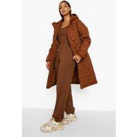 Womens Quilted Longline Puffer Jacket - Orange - 8, Orange