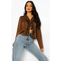 Womens Satin Ruffle Blouse - Brown - 10, Brown