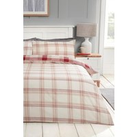 Womens Check Print Double Duvet Set - Red - One Size, Red