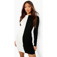 Womens Colour Block Rib Knit Dress - Black - Xs, Black