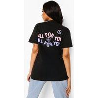 Womens All For You Back Print T Shirt - Black - M, Black