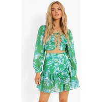 Womens Floral Volume Sleeve Crop & Drop Hem Mini - Green - 8, Green