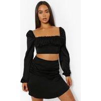 Womens Matte Satin Ruched Crop & Mini Skirt - Black - 14, Black