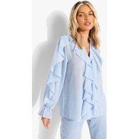 Womens Textured Chiffon Ruffle Blouse - Blue - S/M, Blue