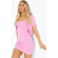 Womens Ribbed Crop And Ruched Dress - Pink - 10, Pink