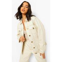 Womens Contrast Stitch Boyfriend Denim Jacket - Cream - 12,
