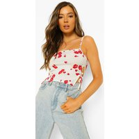 Womens Printed Tie Side Cami Top - White - 8, White