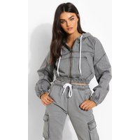 Womens Cropped Denim Zip Through Hooded Jacket - Grey - 6, G