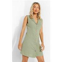 Womens Textured Button Front Shirt Dress - Green - 8, Green