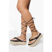Womens Wide Fit Chunky Toe Post Flatform - Black - 7, Black