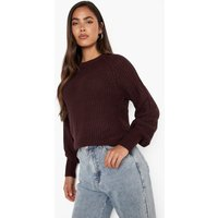 Womens Raglan Sleeve Jumper - Brown - Xs, Brown