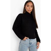 Womens Rib Knit Roll/Polo Neck Crop Jumper - Black - Xs, Black