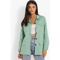 Womens Linen Look Button Down Shacket - Green - 10, Green