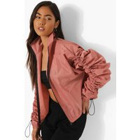 Womens Ruched Sleeve Detail Jacket - Pink - 14, Pink