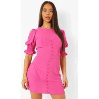 Womens Linen Puff Sleeve Mini Dress - Pink - 8, Pink