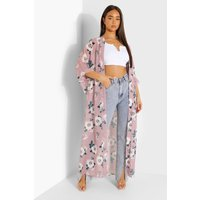 Womens Rose Print Woven Maxi Kimono - Pink - L, Pink