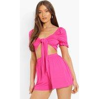 Womens Knot Front Crop & Ruffle Hem Shorts - Pink - 10, Pink