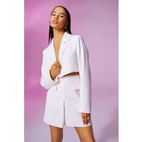 Womens Cropped Fitted Blazer - Pink - 8, Pink