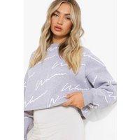 Womens Woman Script Cropped Sweatshirt - Grey - L, Grey