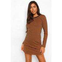 Womens Stripe Ringer Long Sleeve T-Shirt Dress - Beige - Xs, Beige