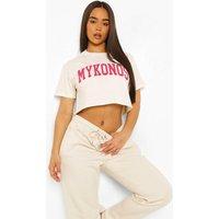 Womens Mykonos Printed Cropped T-Shirt - Cream - Xs, Cream