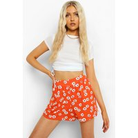 Womens Floral Print Flippy Short - Red - 10, Red