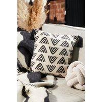 Womens Triangles Block Print Cushion - Black - One Size, Black