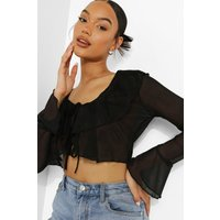 Womens Mesh Ruffle Blouse - Black - 6, Black