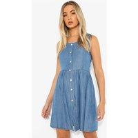 Womens Button Down Floaty Denim Mini Dress - Blue - 12, Blue