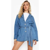 Womens Belted Pocket Chambray Relaxed Blazer - Blue - 14, Blue